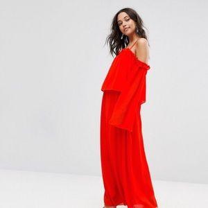 Boohoo Cold Shoulder Angel Sleeve Maxi Dress